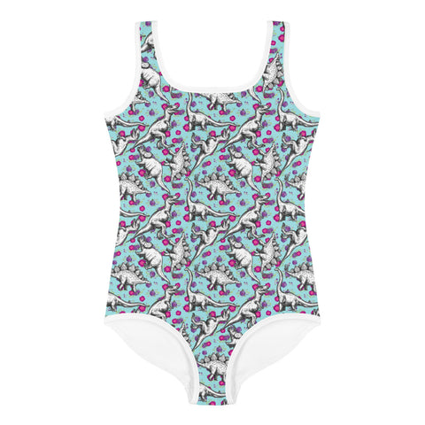 Floral Dinosaur All-Over Print Kids Swimsuit