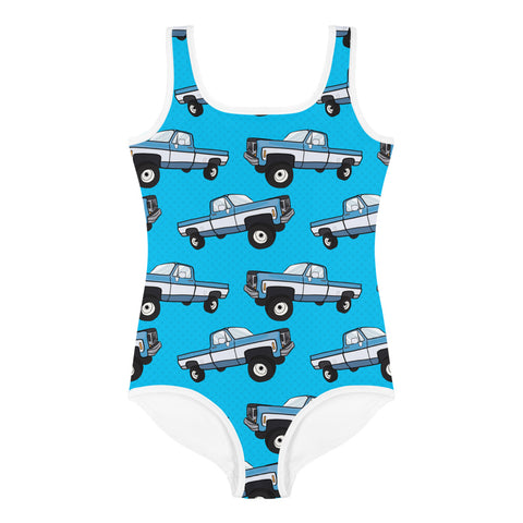 Squarebody Truck All-Over Print Kids Swimsuit