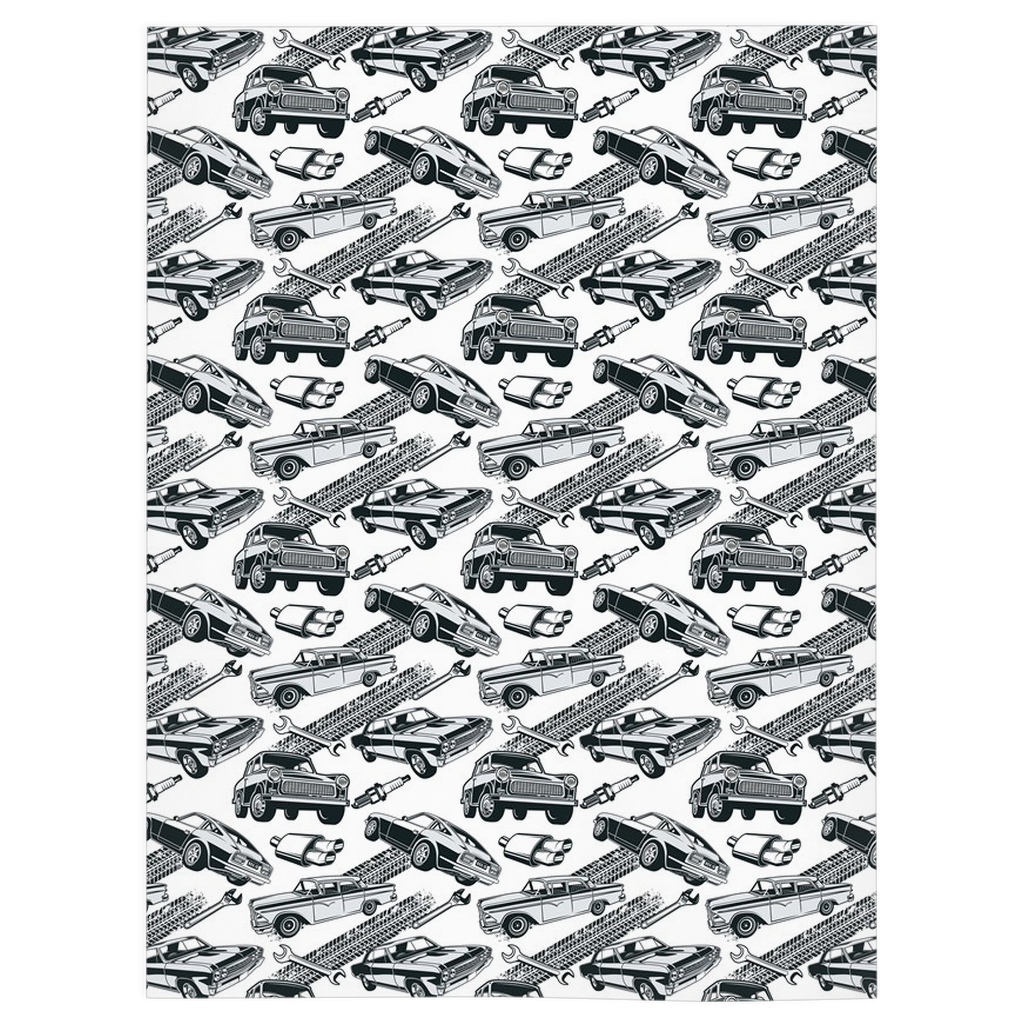 Monochrome Sports Car and Checker Reversible Blanket