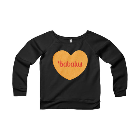 Babalus Conversation Heart Valentines Women's Sponge Fleece Wide Neck Sweatshirt