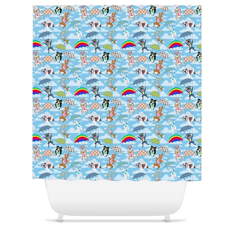 Parachuting Pups Shower Curtains