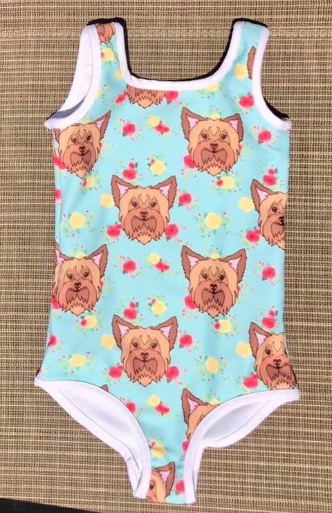 Floral Yorkshire Terrier Kids Swimsuit