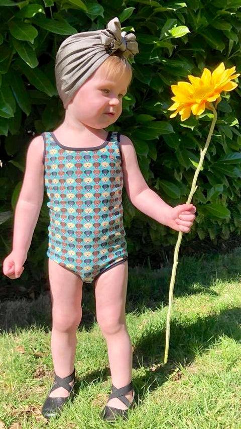 Floral Labrador Kids Swimsuit