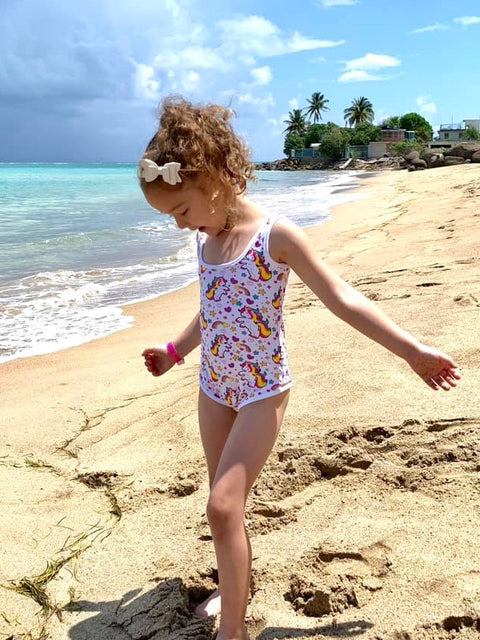 Unicorn on white Kids Swimsuit
