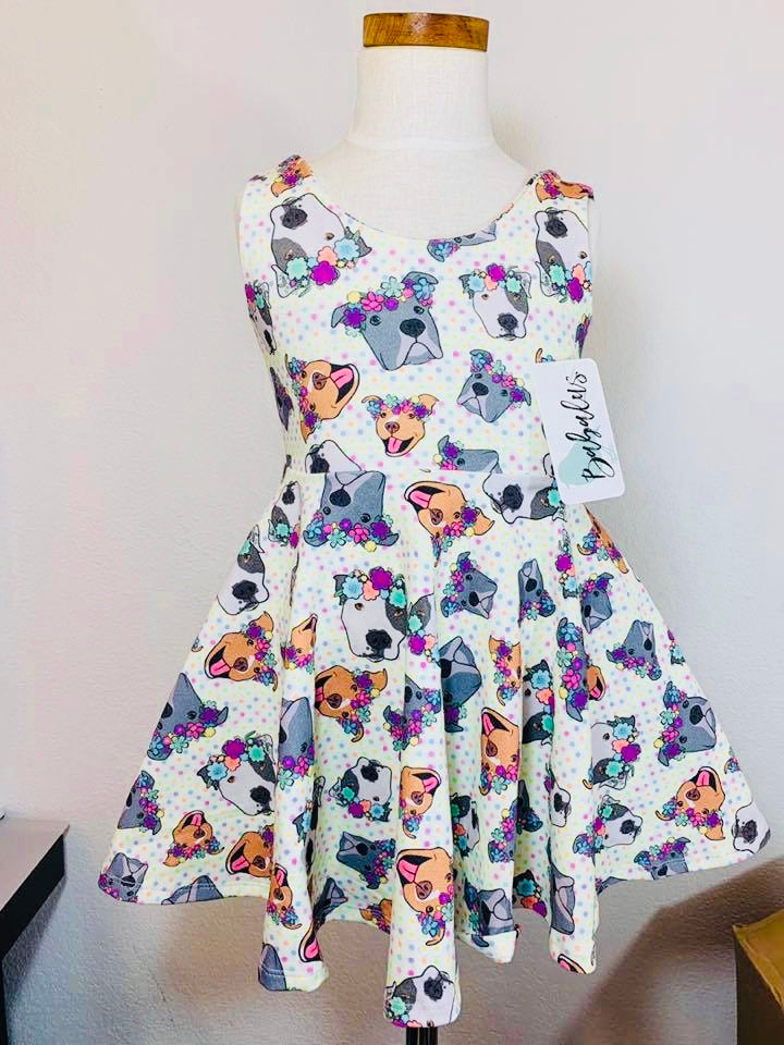 Polka Pitties Polkadot Pitbull Ballerina Twirl Dress