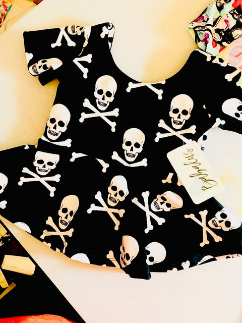 Skull and Crossbones Peplum Top