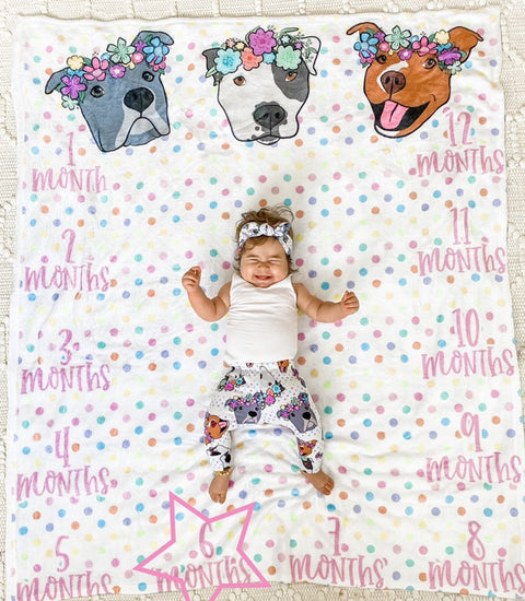 Polka Pitty Pitbull Milestone Blanket - Reversible