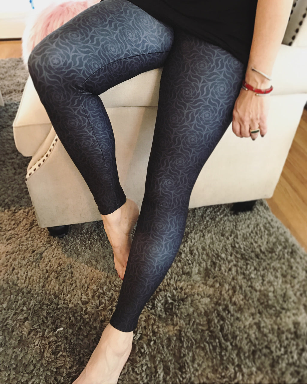 Roses on Black Women's Leggings