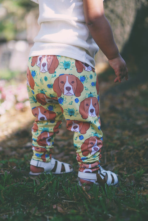 Floral Beagle Face Leggings