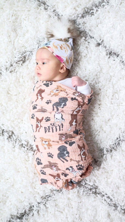 Peach So Pitty Pitbull Ultra Soft Bamboo Muslin Swaddle