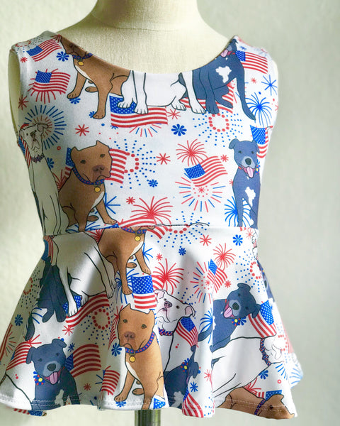 Red, white and blue pitbull Peplum Top
