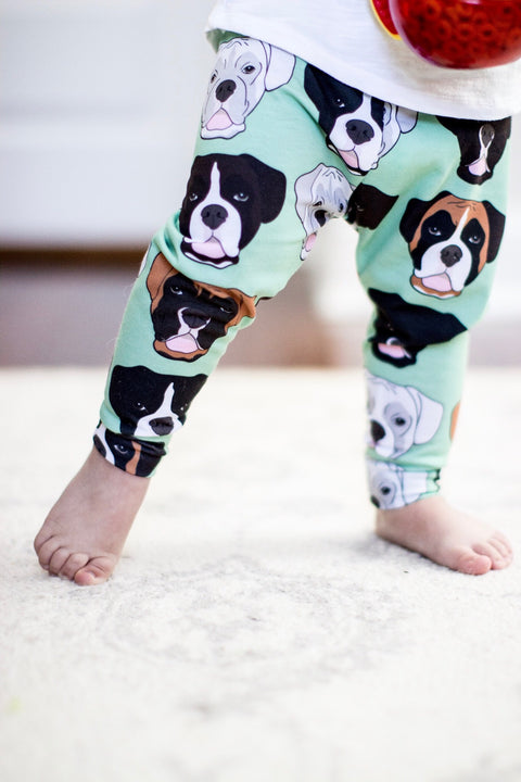 Boxer Faces on Mint Leggings