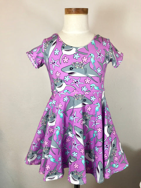 Floral Shark Ballerina Twirl Dress