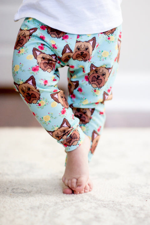Floral Yorkie Yorkshire Terrier Leggings