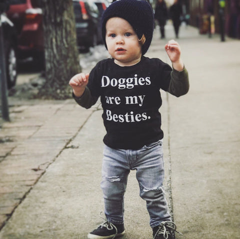 Doggies are my besties Kids Short Sleeve T-Shirt