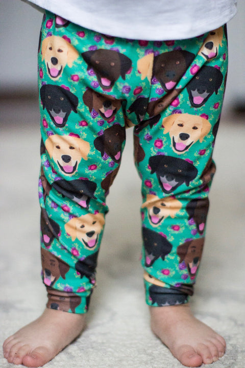 Floral Chocolate, Black and Yellow Labrador Retriever Leggings