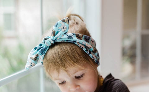 French Bulldog Faces on Blue Infant & Toddler Top Knot Headband