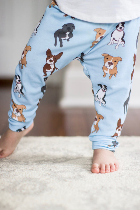 Pitbull Print Leggings on Blue