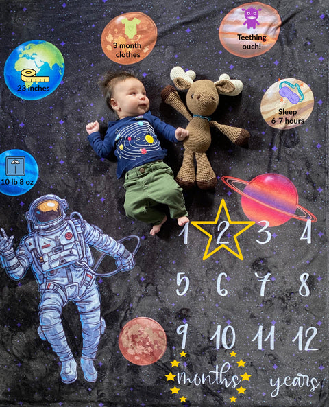 Astronaut Outer Space Milestone Blanket - Reversible