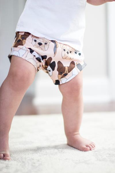 French Bulldog on Peach Print High Waisted Bummies