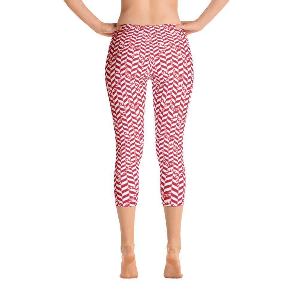 Candy Cane Christmas Capri Leggings