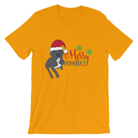 Merry Pitmas Pitbull Christmas Short-Sleeve Unisex T-Shirt