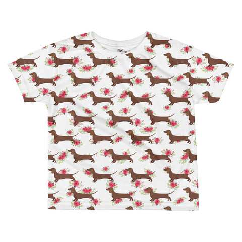 Floral Dachshund Weiner Dog  All-over kids sublimation T-shirt