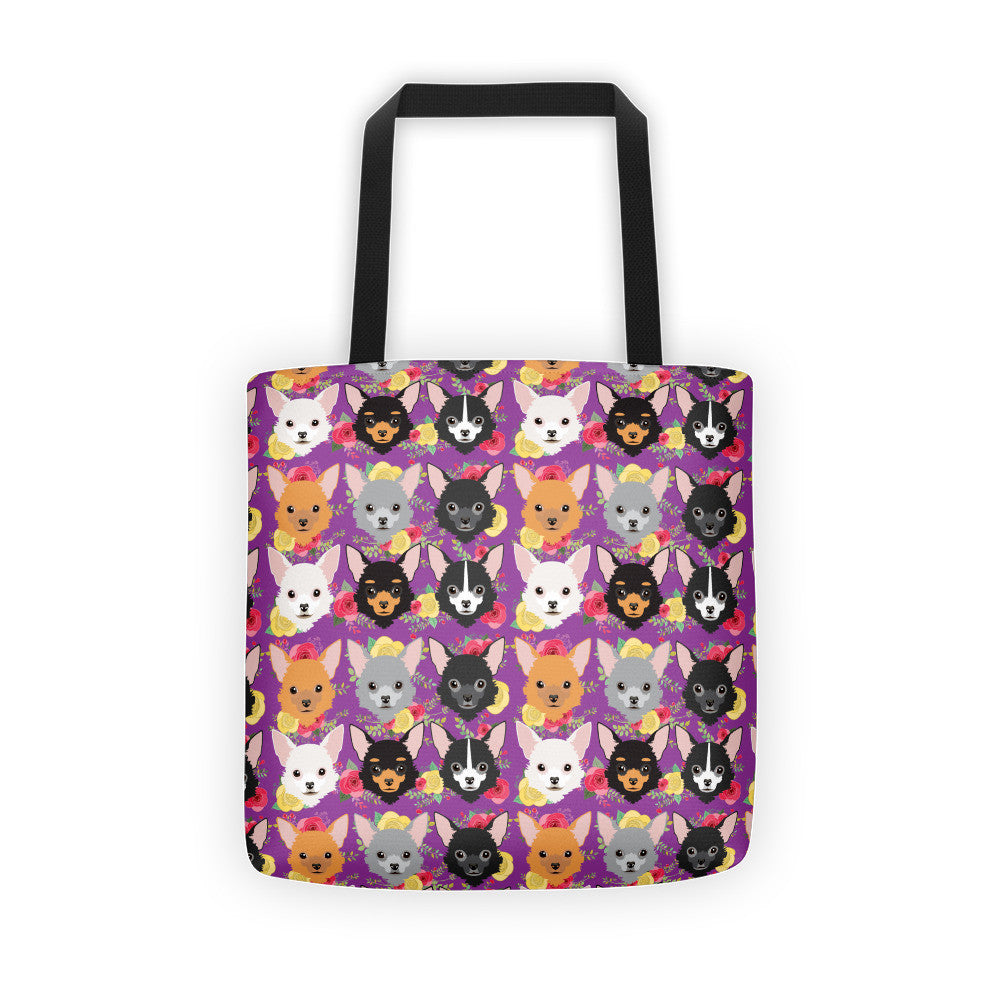 Floral Chihuahua Tote bag