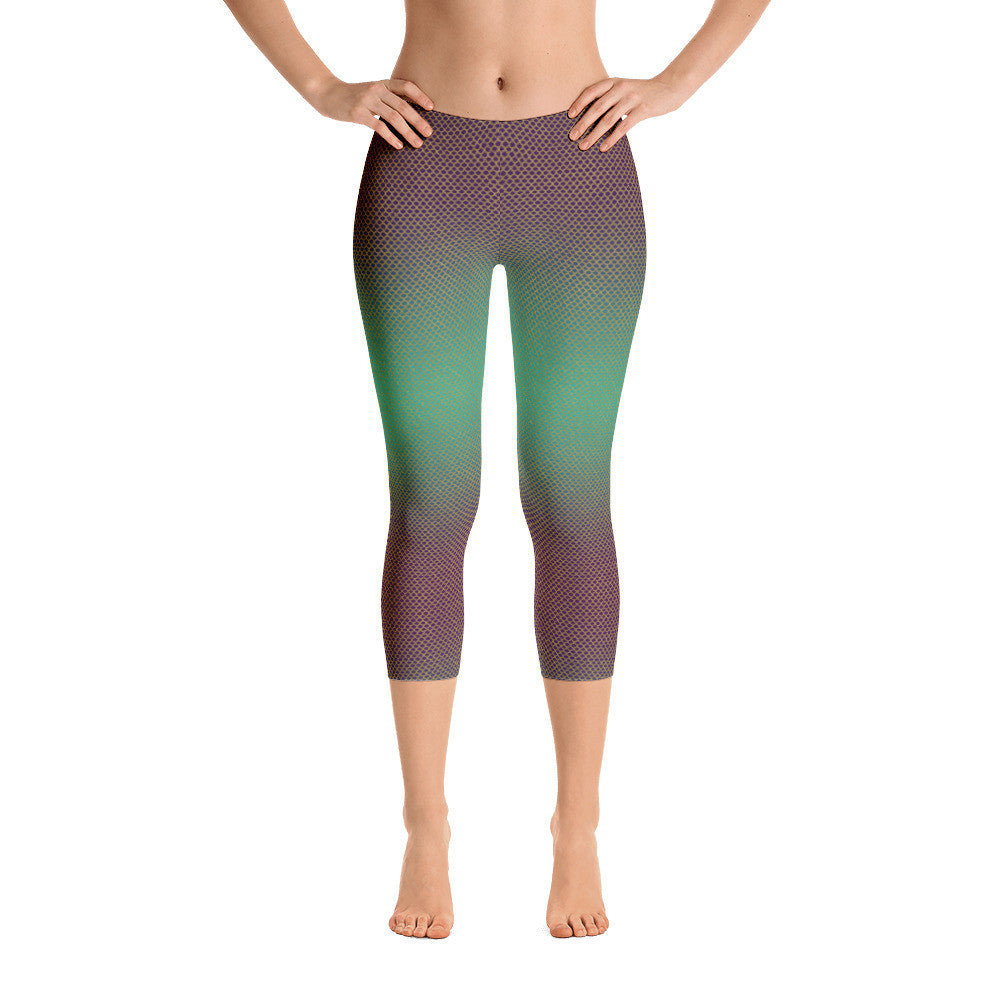 Green & Gold Mermaid Capri Leggings
