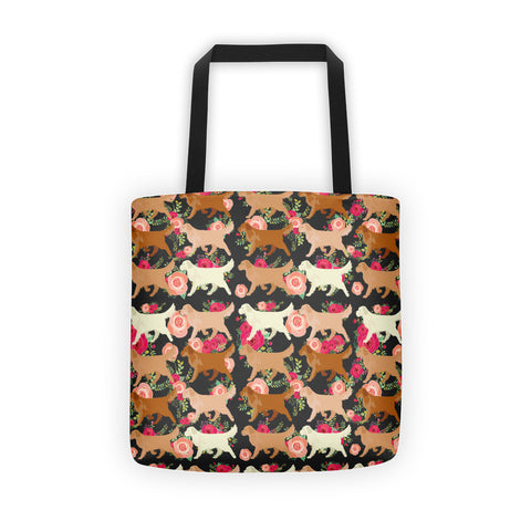 Floral Golden Retriever Tote bag