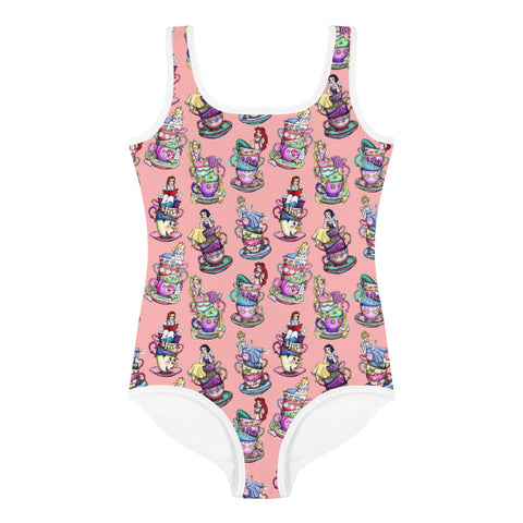 Princess Tea Cups All-Over Print Kids Swimsuit