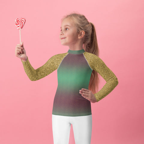 Green and Gold Mermaid Kids Rash Guard