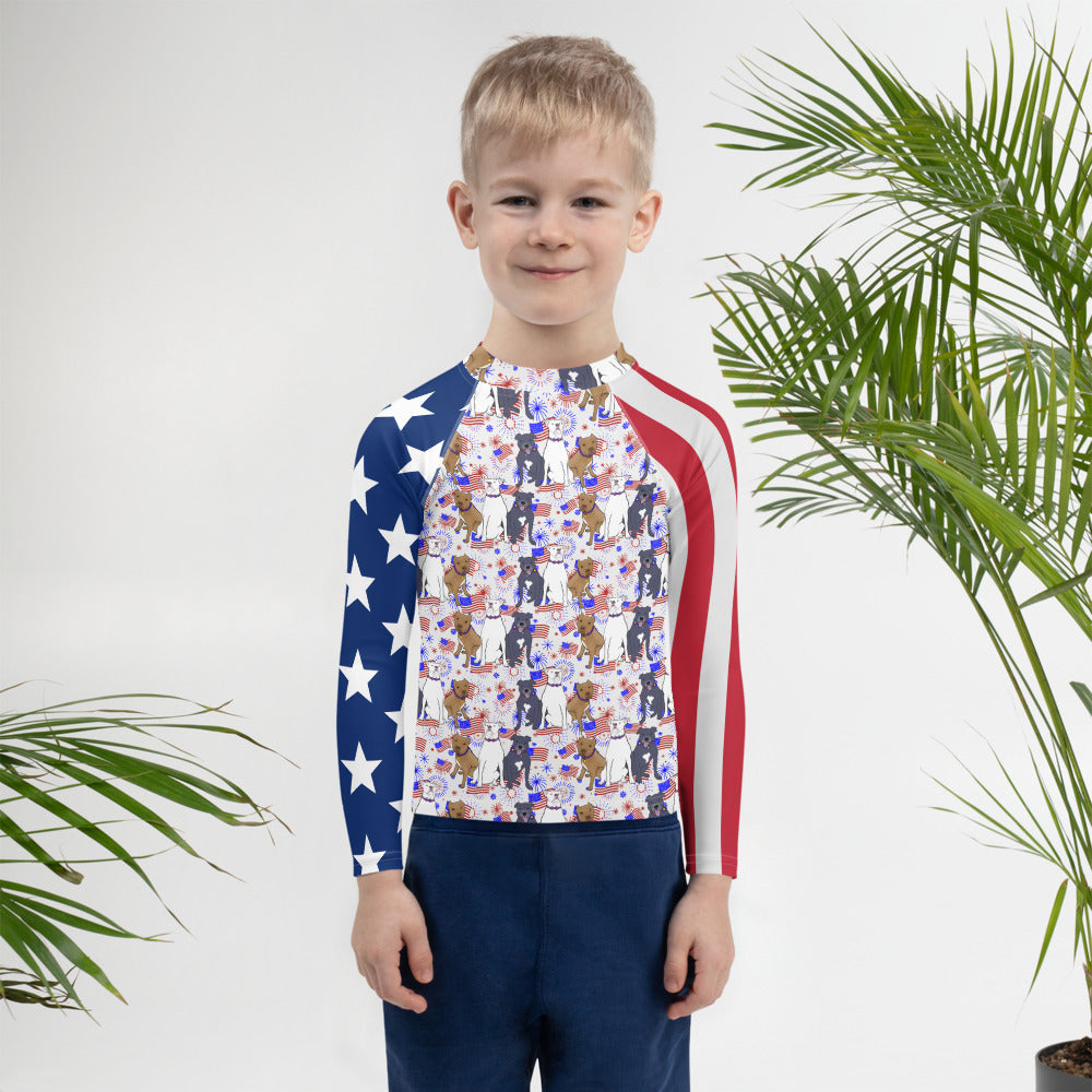Red, White and Blue Pitbull Kids Rash Guard