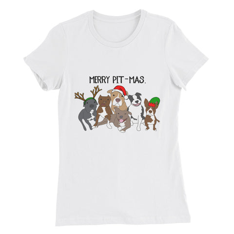 Merry Pitmas Pitbull Christmas Women's Slim Fit T-Shirt