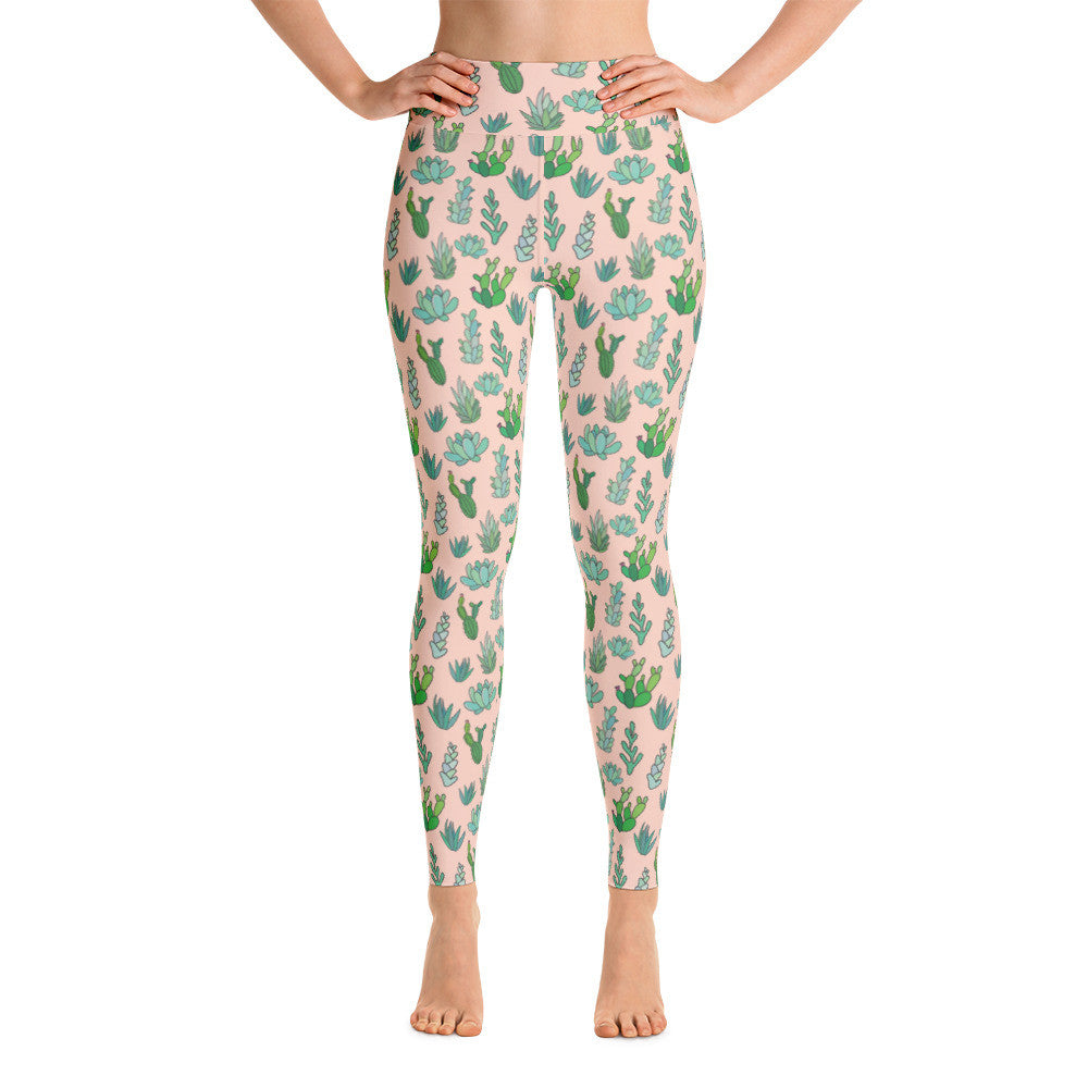 Succulent Cactus Yoga Leggings