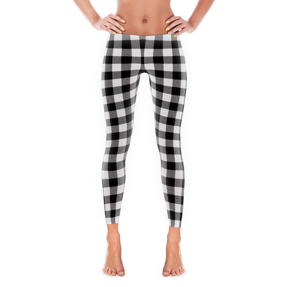 Monochrome Black and White  Buffalo Plaid Women's Leggings