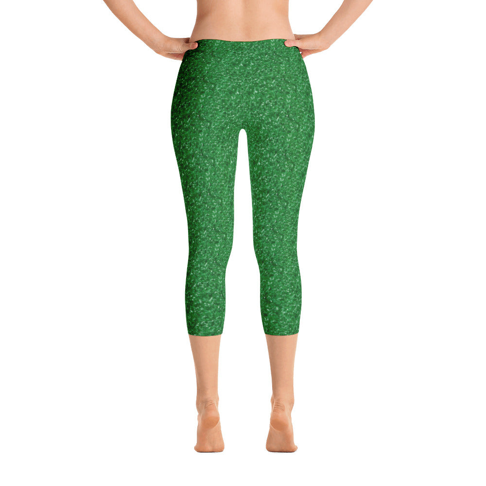 Green Glitter Christmas Capri Leggings