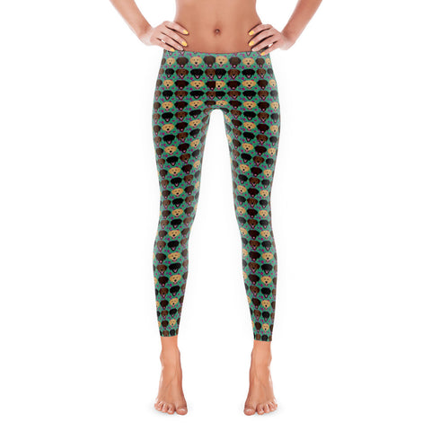 Floral Chocolate, Black and Yellow Labrador Retriever Women's Leggings