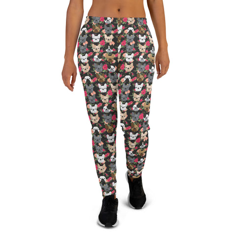 Floral French Bulldog Women's Joggers