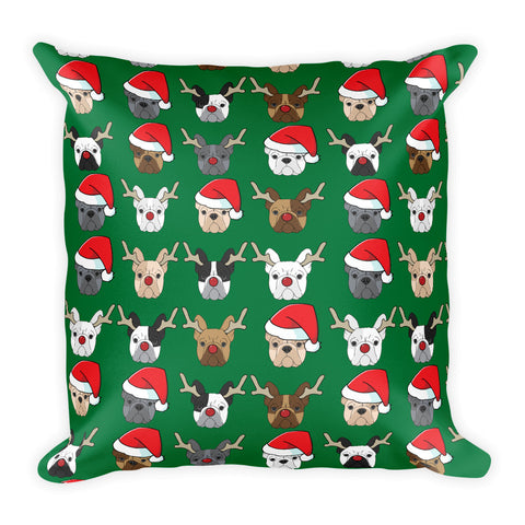 Christmas French Bulldog Square Pillow