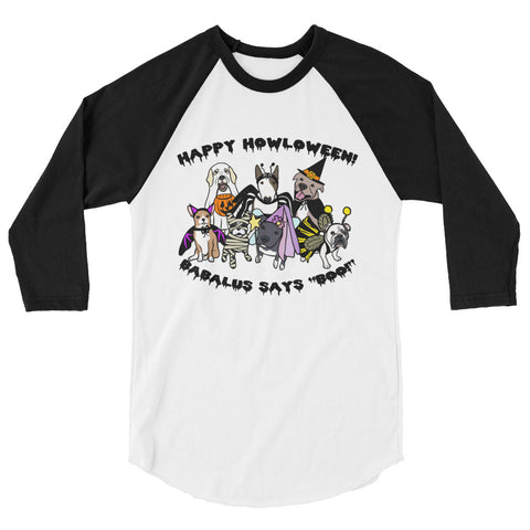 Happy Halloween Babalus Doggies 3/4 sleeve raglan shirt