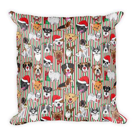 Christmas Puppy Square Pillow