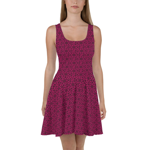 Fuschia Roses Fit and Flare Dress