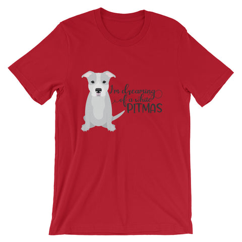 I'm Dreaming of a white Pitmas Pitbull Christmas Short-Sleeve Unisex T-Shirt