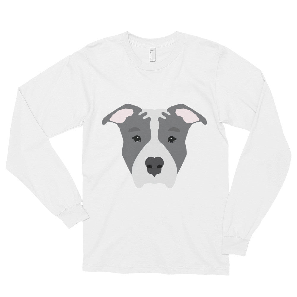 Blue Pitbull Face Long sleeve t-shirt (unisex)