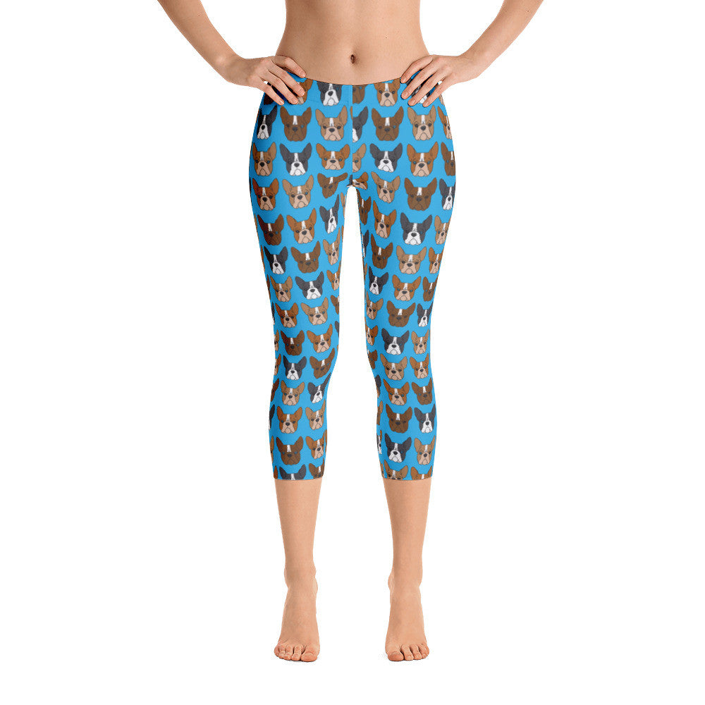Boston Terrier on Blue Capri Leggings