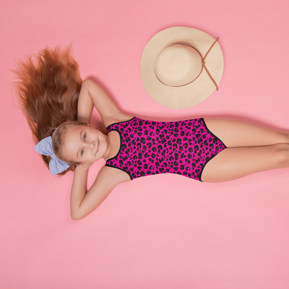 Pink Cheetah All-Over Print Kids Swimsuit