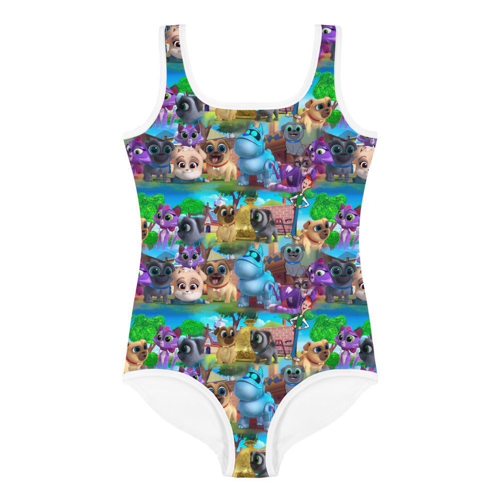 Puppy All-Over Print Kids Swimsuit