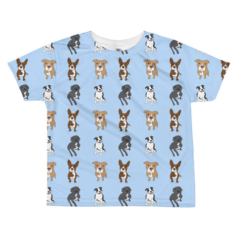 Pitbull on Blue All-over kids sublimation T-shirt