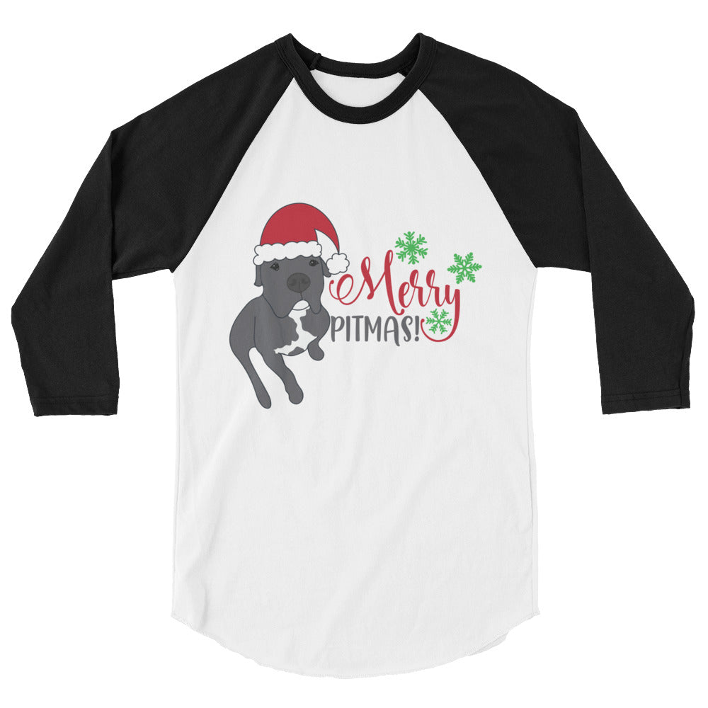 Merry Pitmas Pitbull Christmas 3/4 sleeve raglan shirt